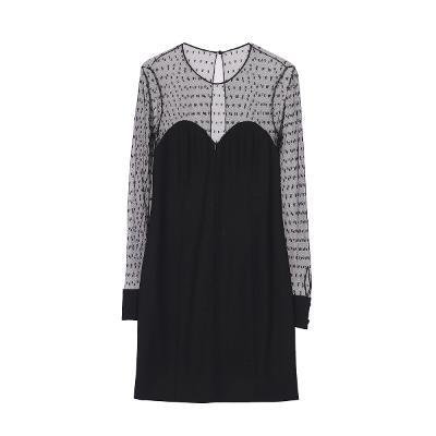 see through shoulder dress black